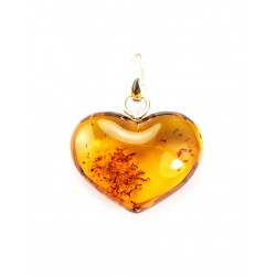 "Pendant made of solid natural cognac amber ""Heart"""
