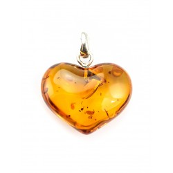 "Pendant made of solid natural amber ""Heart"" cognac"