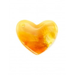 Pendant from the heart-shaped amber honey-colored pattern with scenic