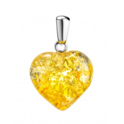 "Pendant ""Heart"" of natural sparkling amber"