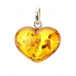 "Pendant ""Heart"" light amber with red-hot sparks"
