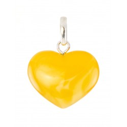 A pendant in the shape of a heart made of solid natural amber with a unique texture painting