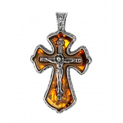 Small pectoral cross of translucent amber-colored cognac with silver frame