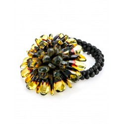"Multifunction decoration with natural lemon amber ""Chrysanthemum Diamond"""
