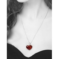 "Pendant made of natural amber piece ""Heart"" cognac color"