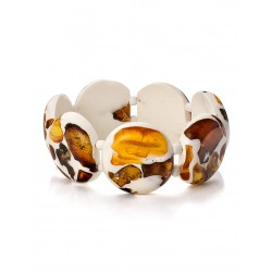 """Mosaic bracelet round sections with natural amber """"dalmatian"""""""