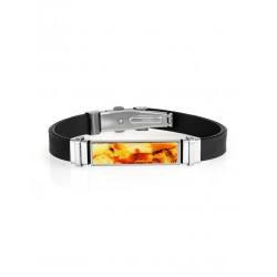"Men's Bracelet ""Silverstone"" with beautiful mosaics made of amber"