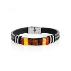 """Men's Bracelet """"Silverstone"""" with beautiful mosaics made of amber"""
