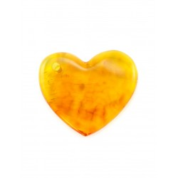 Fancy suspension of natural bright clear amber cognac-colored heart-shaped