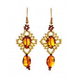 "Elegant earrings ""Lukomorye"" natural solid amber and beads"