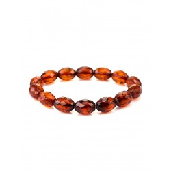 "Elegant sparkling bracelet made of natural Baltic amber ""Olive Diamond"""