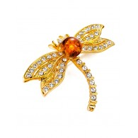 Partly graceful brooch dragonfly with natural amber crystals and Beoluna
