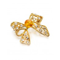 Small elegant brooch with natural amber and crystal Beoluna