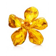 "Unusual flower brooch from whole raw amber ""Pompeii"""