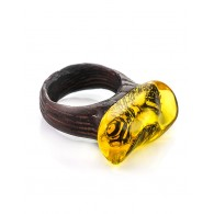 "Unusual ring wood Wenge and natural amber ""Indonesia"""