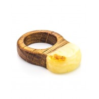 "Unusual ring with a natural oak Baltic amber ""Indonesia"""