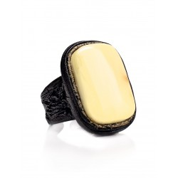 """Unusual leather ring with natural amber solid """"Nefertiti"""""""