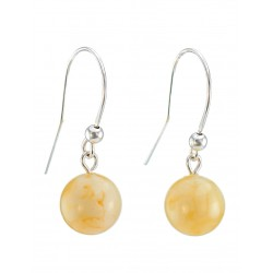 Delicate earrings with natural Baltic amber honey-milk-on-hook locks