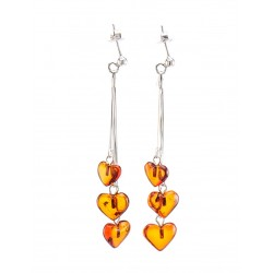 "Delicate earrings made of natural amber brandy ""Hearts on a chain"""