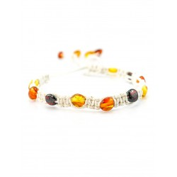 Gentle lightweight woven bracelet with natural amber
