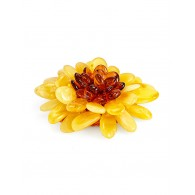 "Volume brooch-pendant from a single amber of different colors ""Chrysanthemum"""