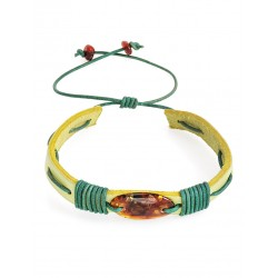 """Charming bracelet leather green color with cognac amber """"Copacabana"""""""