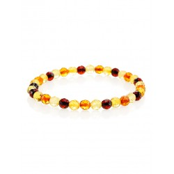"Charming bracelet ""Caramel diamond motley"" natural piece of amber"
