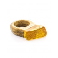 "The original ring of wood with a piece of lemon natural Baltic amber ""Indonesia"""