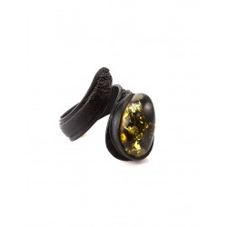 Original ring-snake of natural leather with an insert of Baltic amber