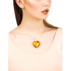 "Necklace on a chain of natural Baltic amber ""Lemon heart"""