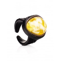 """Ring from leather and natural landscape amber """"Nefertiti"""""""