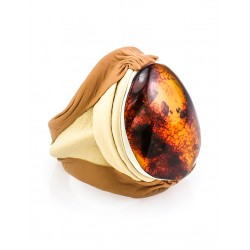 """Ring from leather and natural amber """"Nefertiti"""" in ethnic style"""