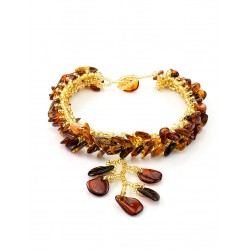 """Braided bracelet made of natural Baltic amber """"Birch"""""""