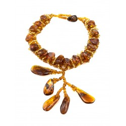"""Braided bracelet made of natural Baltic amber beads and """"Birch"""""""