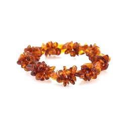 """Braided bracelet made of natural Baltic amber """"Pigtail cognac"""""""