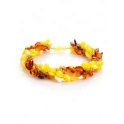 """Braided bracelet made of natural Baltic amber """"multicolored harness"""""""