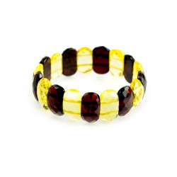 "Sleek bracelet natural amber ""Colorful two-tone verge"""