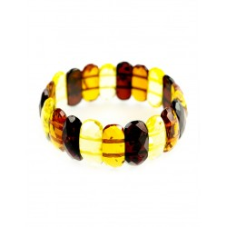"Sleek bracelet natural amber ""Colorful transparent verge"""