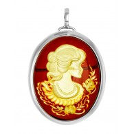 "Pendant brooch in vintage style with Intaglio on amber ""Eleanor"""