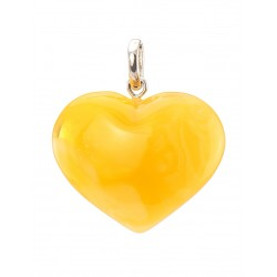 Pendant heart with natural Baltic amber, honey-colored