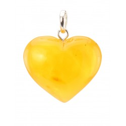 "Pendant ""Heart"" made of natural Baltic amber translucent"