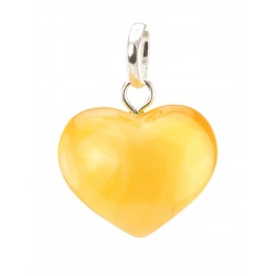 "Pendant ""Heart"" with natural light amber honey with a beautiful texture"