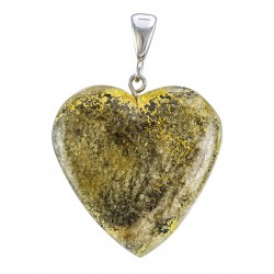 Pendant in the shape of a heart made of natural Baltic amber with a unique texture