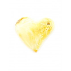 Pendant in the shape of a heart with natural milk-white amber with a beautiful landscape texture