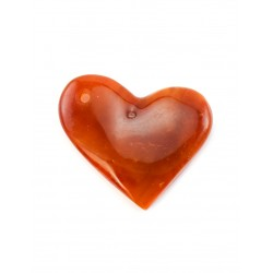 Pendant in the shape of a heart made of natural amber beautiful terracotta color