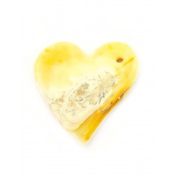 Pendant in the shape of a heart of a picturesque natural amber milk-honey color with a bluish pattern