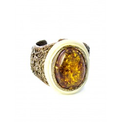 """Luxury leather ring """"Nefertiti"""" with insertion of amber sparkling"""