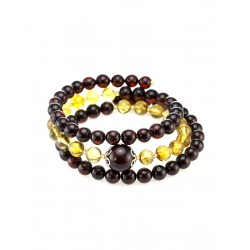 """Luxury elegant bracelet made of natural amber molded cherry and lemon colors """"Angelica"""""""