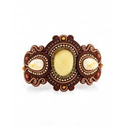 """Luxury braided bracelet with inserts of natural amber """"India"""""""
