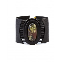 """A wide cuff bracelet with oval inset of iridescent Baltic amber """"Amazon"""""""